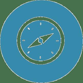 Piktogramm der Berufsorientierung von Coach e.V. Symbol eines Kompasses.